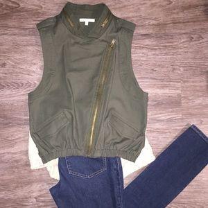 Army Green Vest, Zipper Details